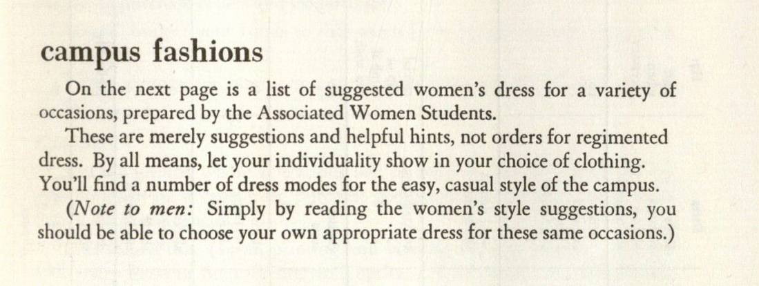 Image of campus fashions described in the KU Student Handbook, 1965-1966