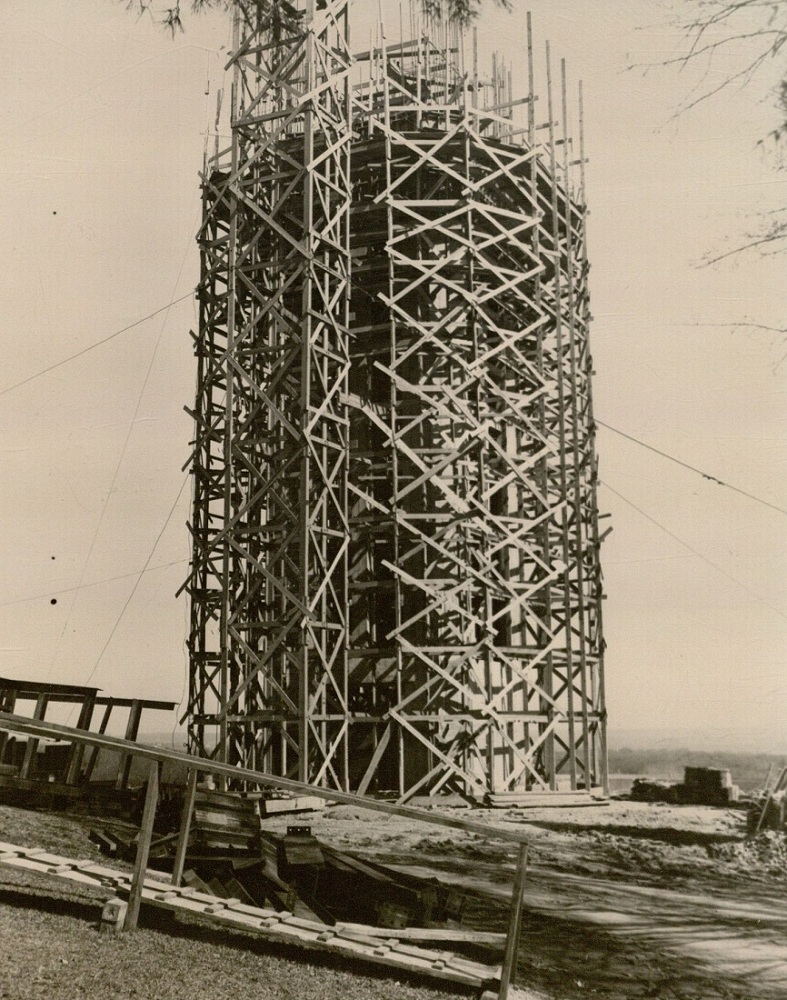 Photograph of the campanile under construction, 1950