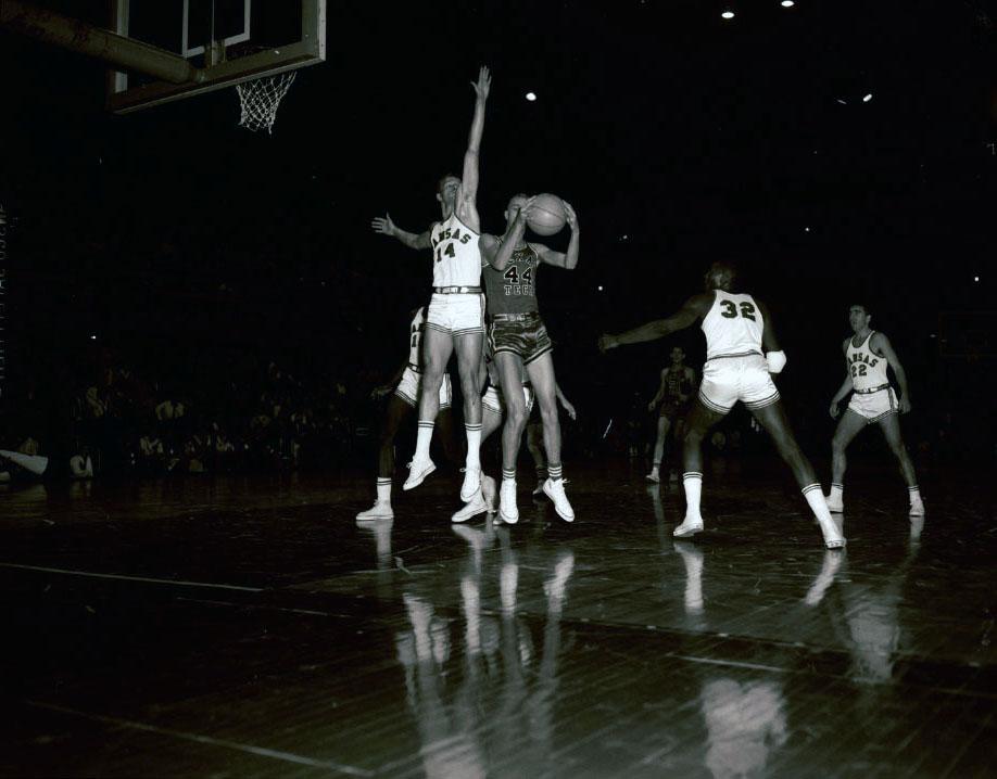 Photograph of a basketball game, KU versus Texas Tech, 1959