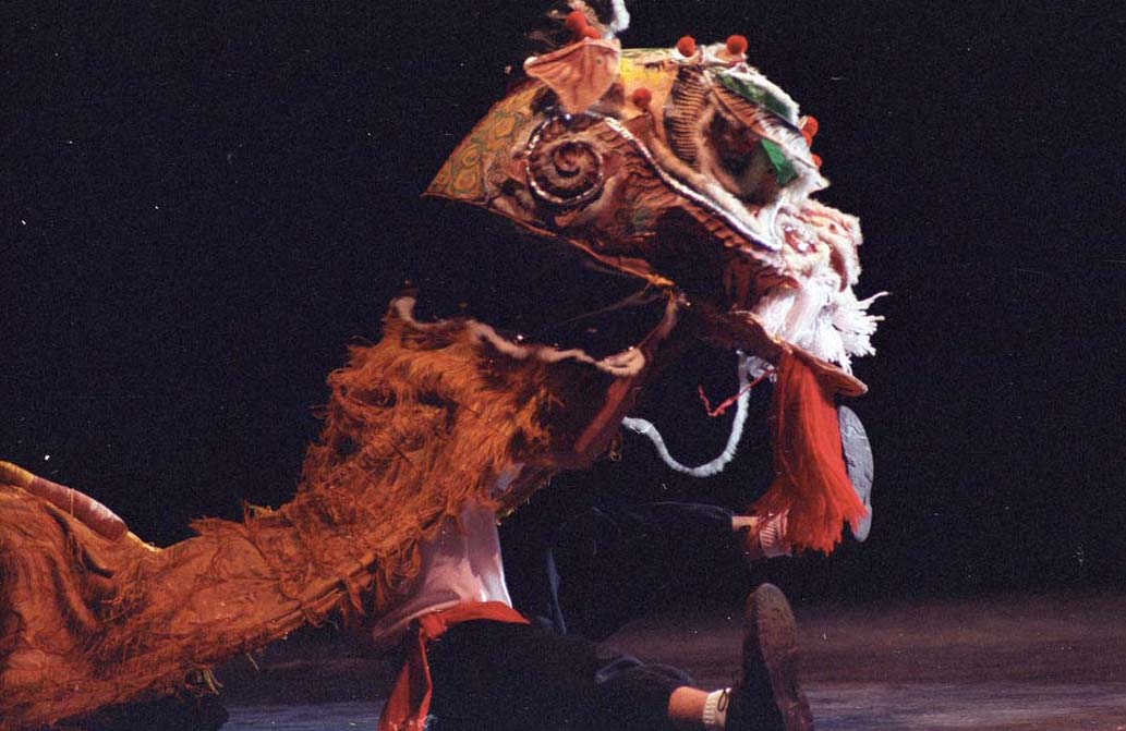 photograph of a chinese new year celebration person dancing with a dragon costume 1994 - Chinese New Year 1994