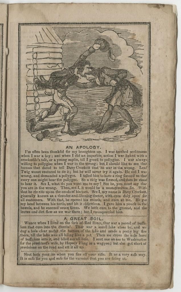"Image of Fisher's Crockett Almanac, ""An Apology,"" 1843"