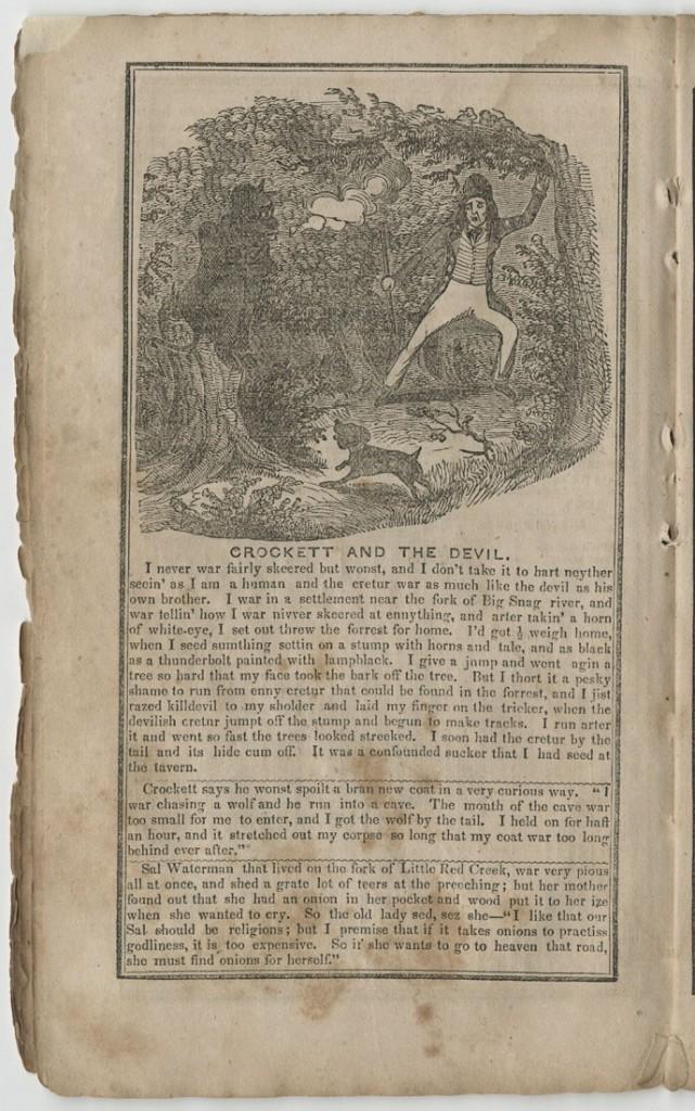 "Image of Fisher's Crockett Almanac, ""Crockett and the Devil,"" 1843"