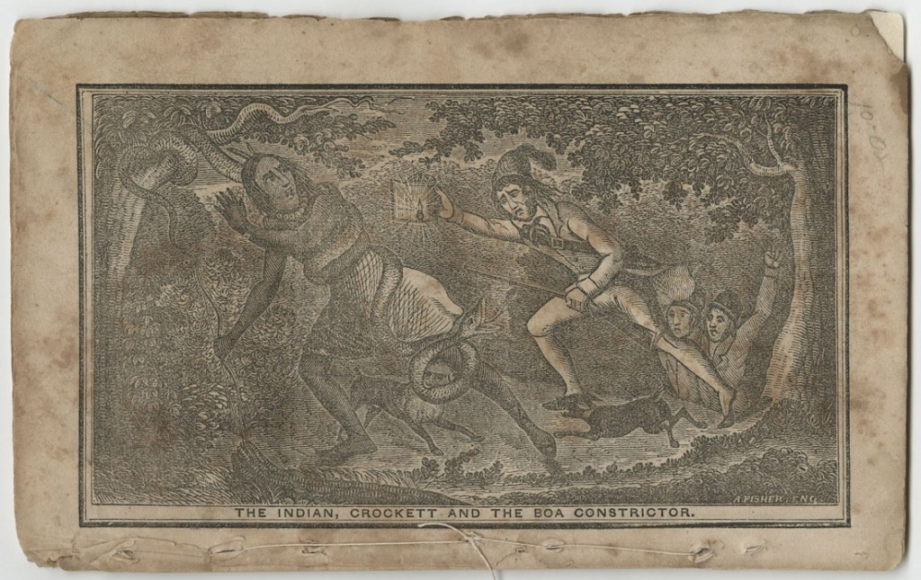 """Image of Fisher's Crockett Almanac, """"The Indian, Crockett and the Boa Constrictor,"""" 1843"""