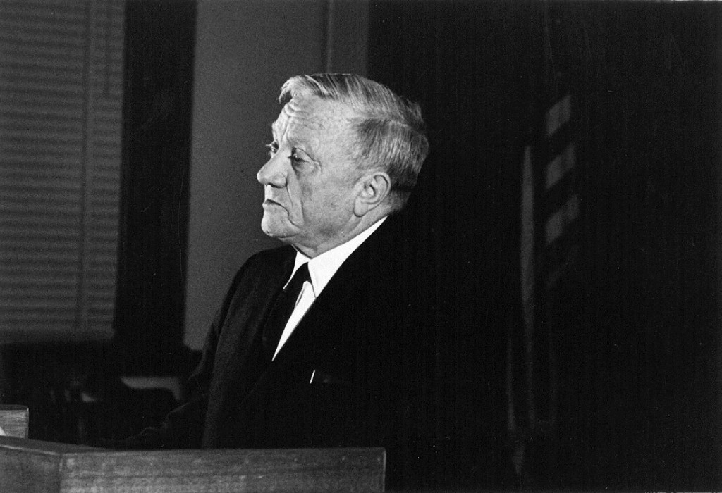 Photograph of Justice William O. Douglas speaking to the crowd inside Hoch Auditorium, 1965 February 24