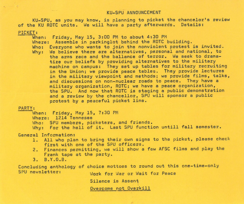 Image of a flyer outlining the Student Peace Union's agenda and itinerary for the ROTC Review, undated