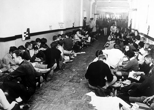 Photograph of the civil rights sit-in protest in Strong Hall, 1965