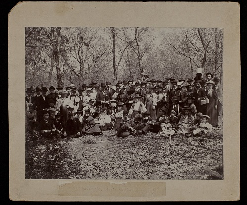 Group portrait of the class of 1897 during a picnic