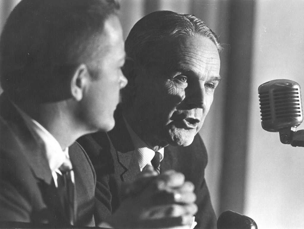 Photograph of General Maxwell Taylor speaking inside Hoch Auditorium, 1965 December 6