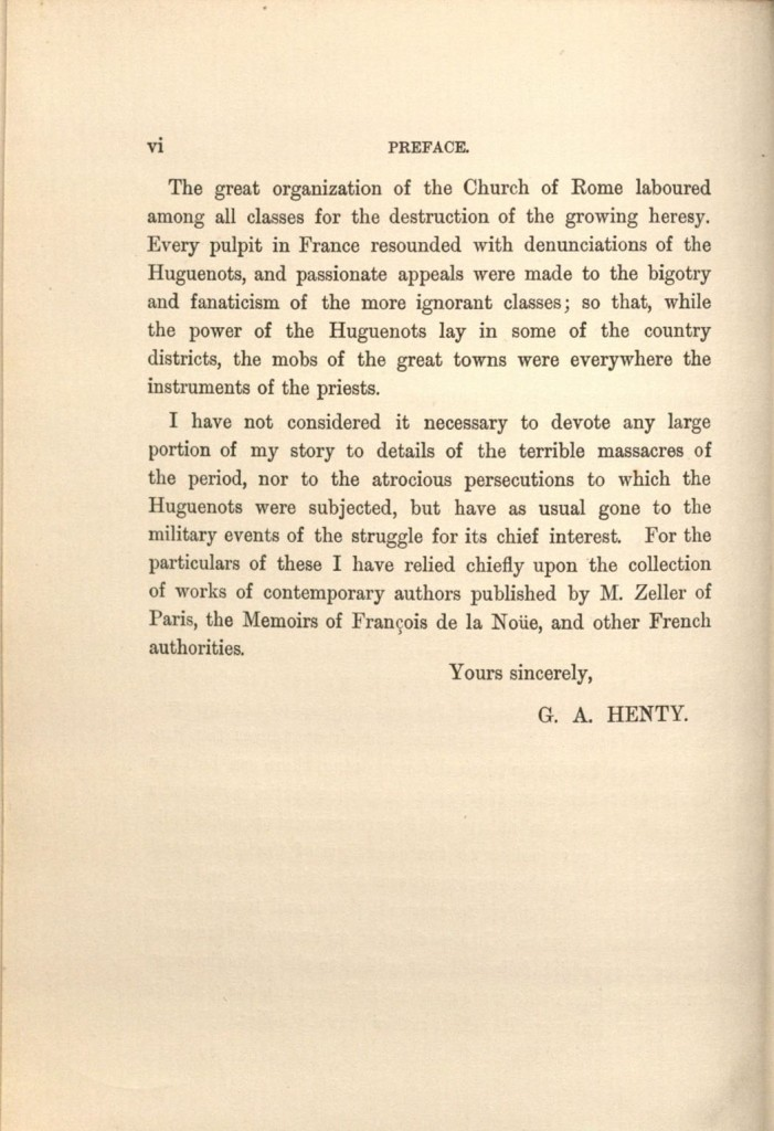 Image of preface in St. Bartholomew's Eve, G. A. Henty, 1894