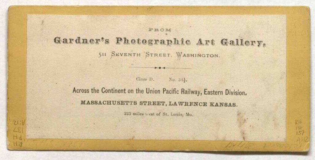 Image of Massachusetts Street, Lawrence, Kansas, 1867 (back)