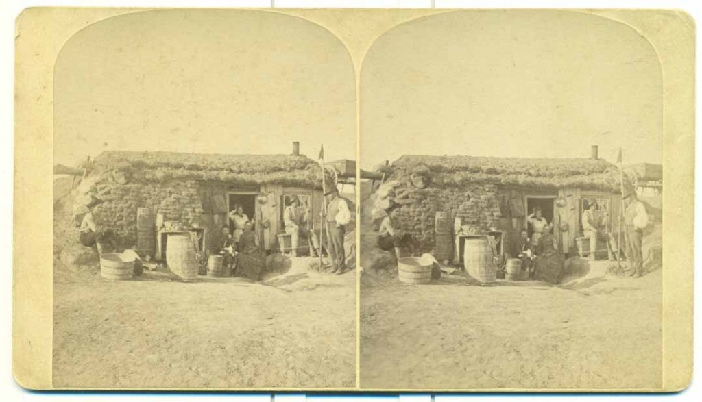 Photograph of a dugout sod home, Kansas, undated