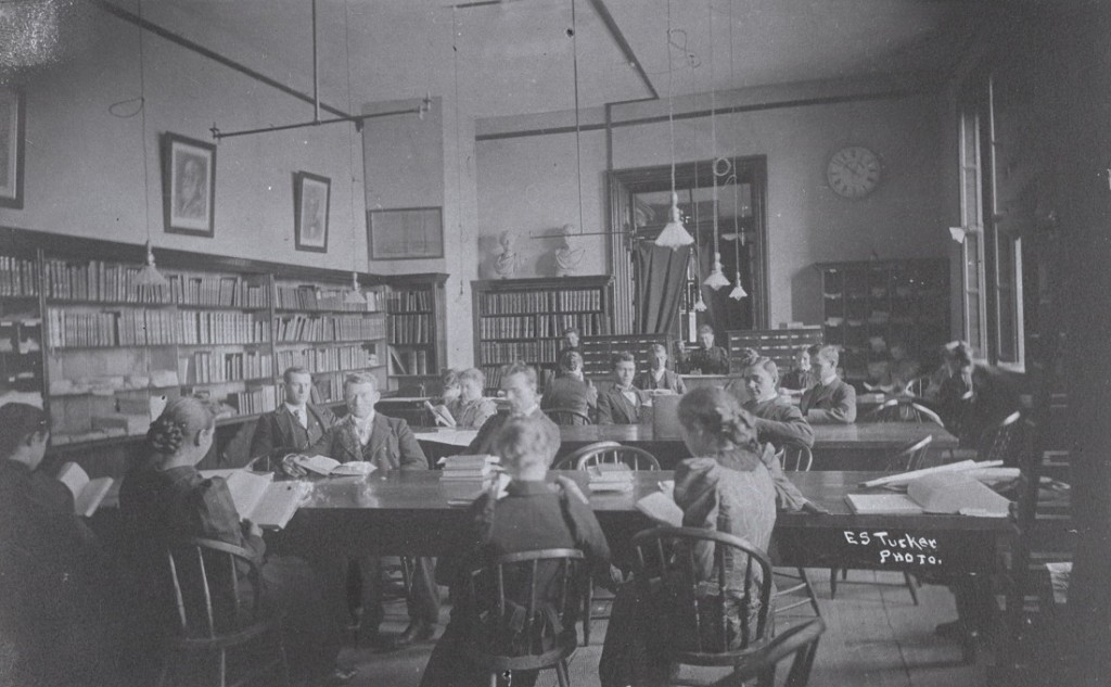 Photograph of students studying in the library in Old Fraser Hall, 1886