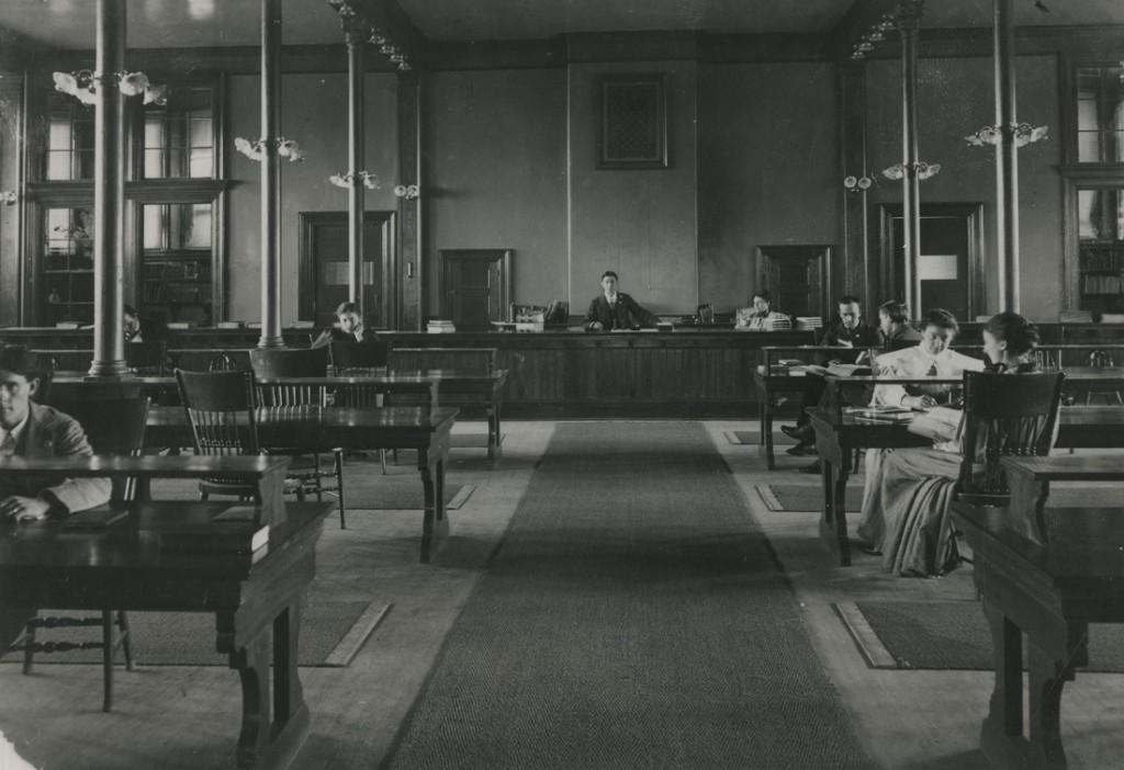 Photograph of students studying in Spooner Library, 1895