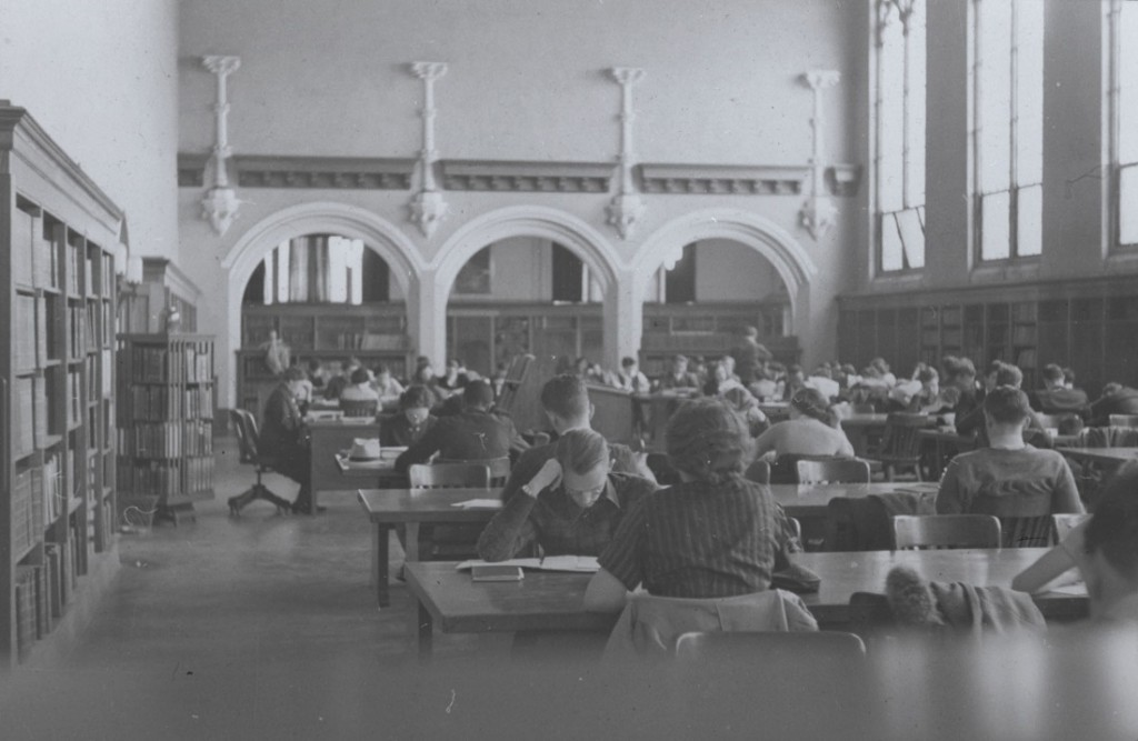 Photograph of students studying at Watson Library, 1939