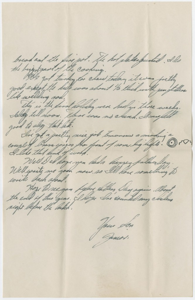 Image of a letter, Leo W. Zahner, Jr. to his father, June 17, 1945