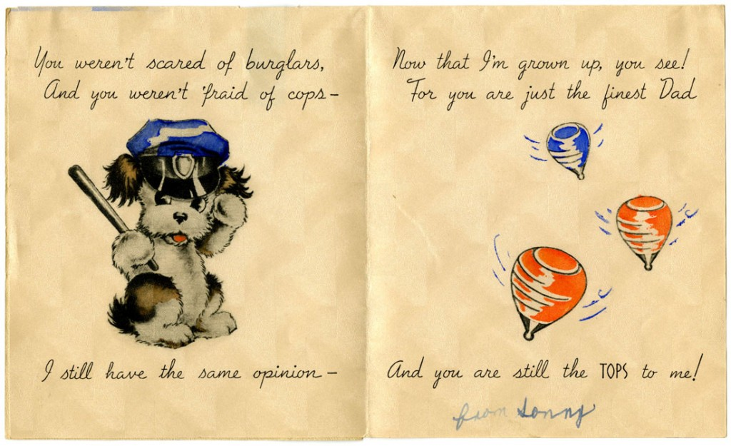 Image of a Father's Day card, circa 1940-1946