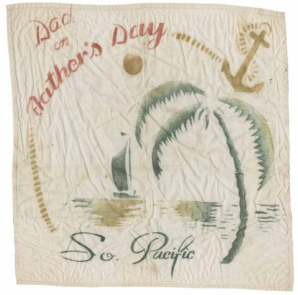 Image of a painted souvenir handkerchief from the South Pacific, circa 1944-1945