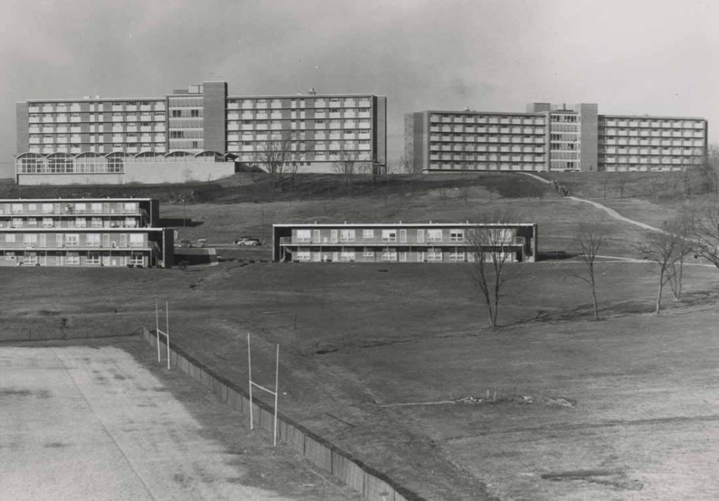 Photograph of Daisy Hill residence halls behind Stouffer Place, 1950s