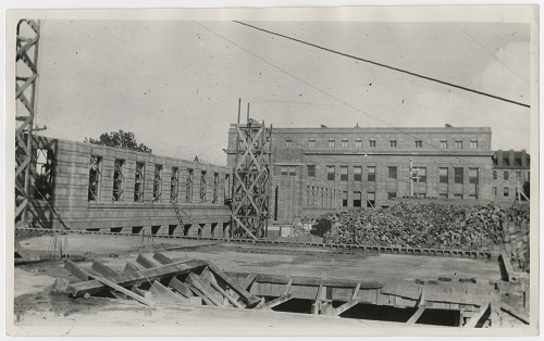 Photograph of Strong Hall construction, 1917