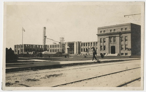 Photograph of Strong Hall construction, 1918