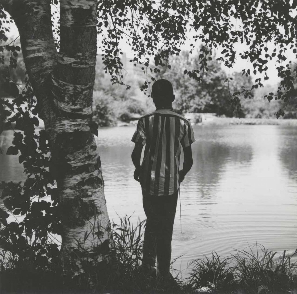 Photograph of a boy fishing at Potter Lake, 1970