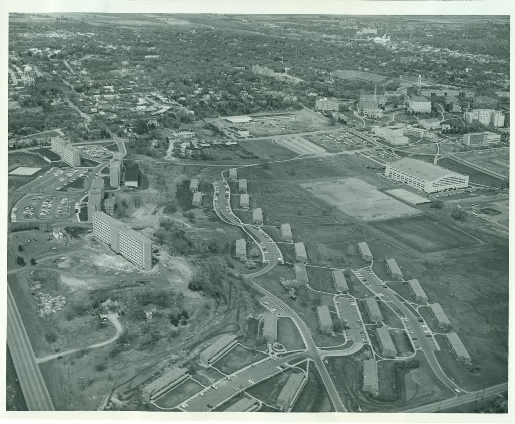 Aerial photograph of Stouffer Place, 1963-1964