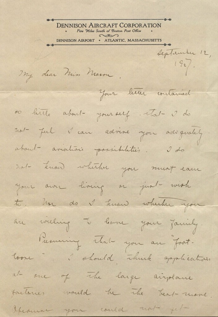 Image of Amelia Earhart letter to Helen Mason, page 1, 1927
