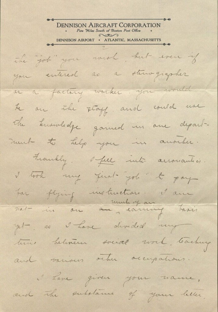 Image of Amelia Earhart letter to Helen Mason, page 2, 1927
