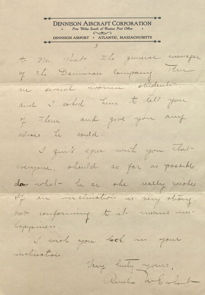 Image of Amelia Earhart letter to Helen Mason, page 3, 1927