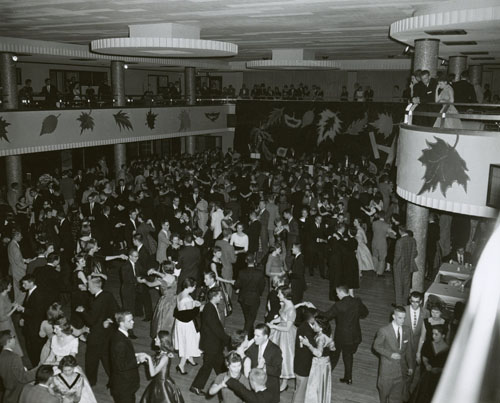 Photograph of the Homecoming dance in Kansas Union Ballroom, 1956