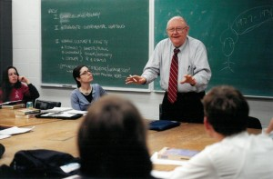 "Throughout his tenure Chancellor Hemenway taught English and American Studies courses. Here he is shown as a guest speaker in ""Feminist Theory in Anthropology."" Photograph by KU University Relations. University Archives Photos. Call Number: RG 2/19 2001 Prints: Chancellors: Hemenway (Photos)."