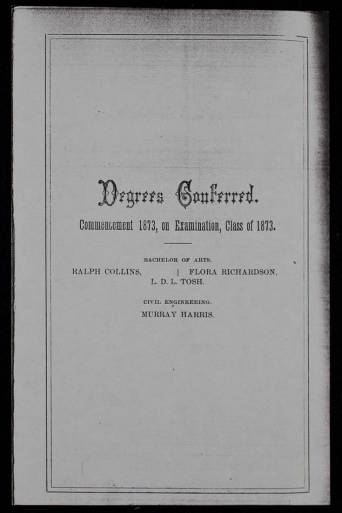 List of degrees conferred, 1873