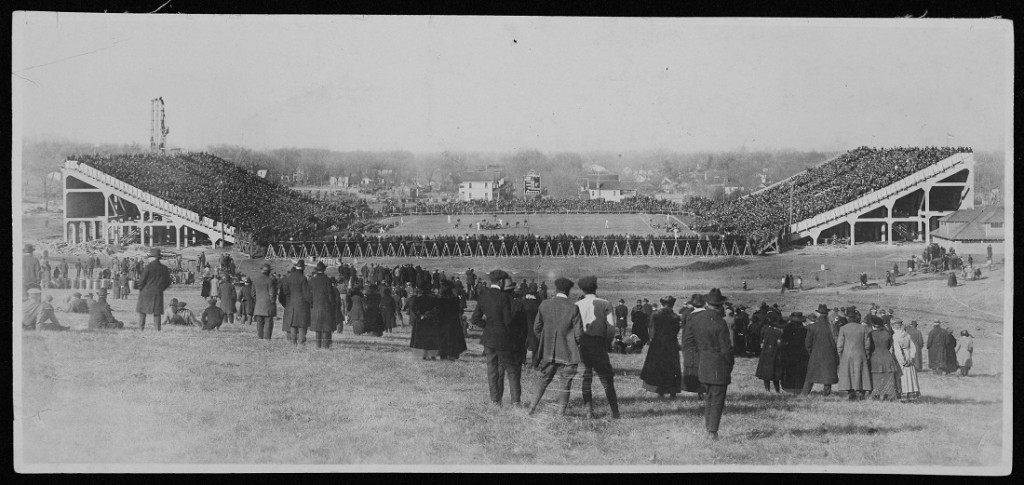 Photograph of Memorial Stadium during a football game against University of Missouri, 1921