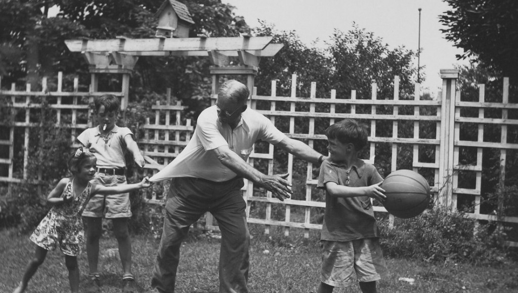 Photograph of Dr. James Naismith with grandchildren