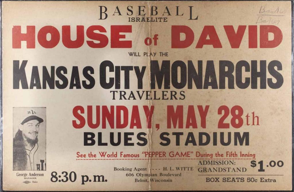 Advertisement, House of David vs. Kansas City Monarchs Travelers, May 28, 1950