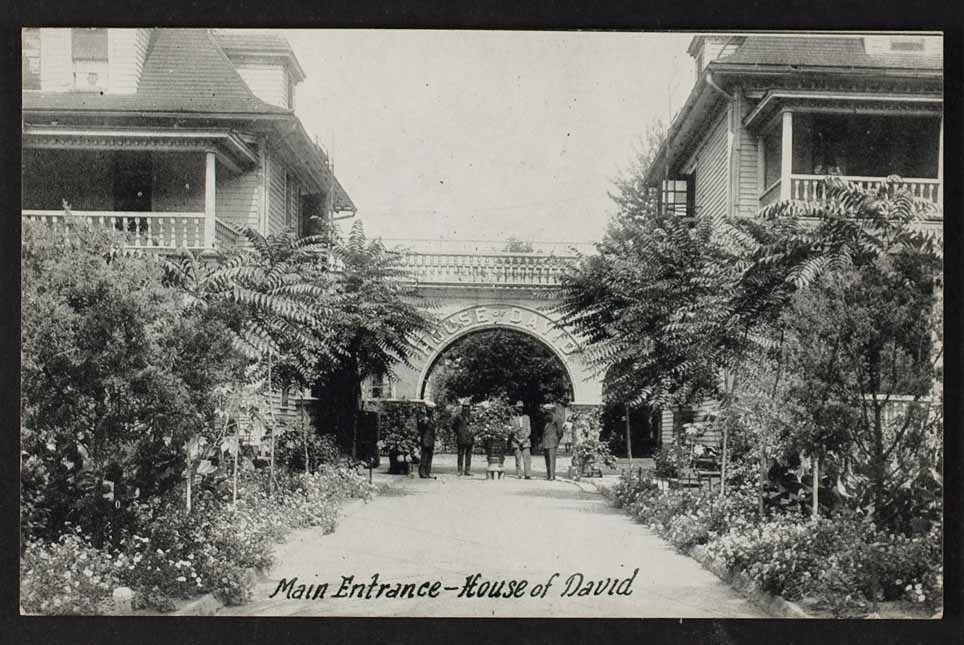 Photograph of the Israelite House of David headquarters, entrance gate, undated