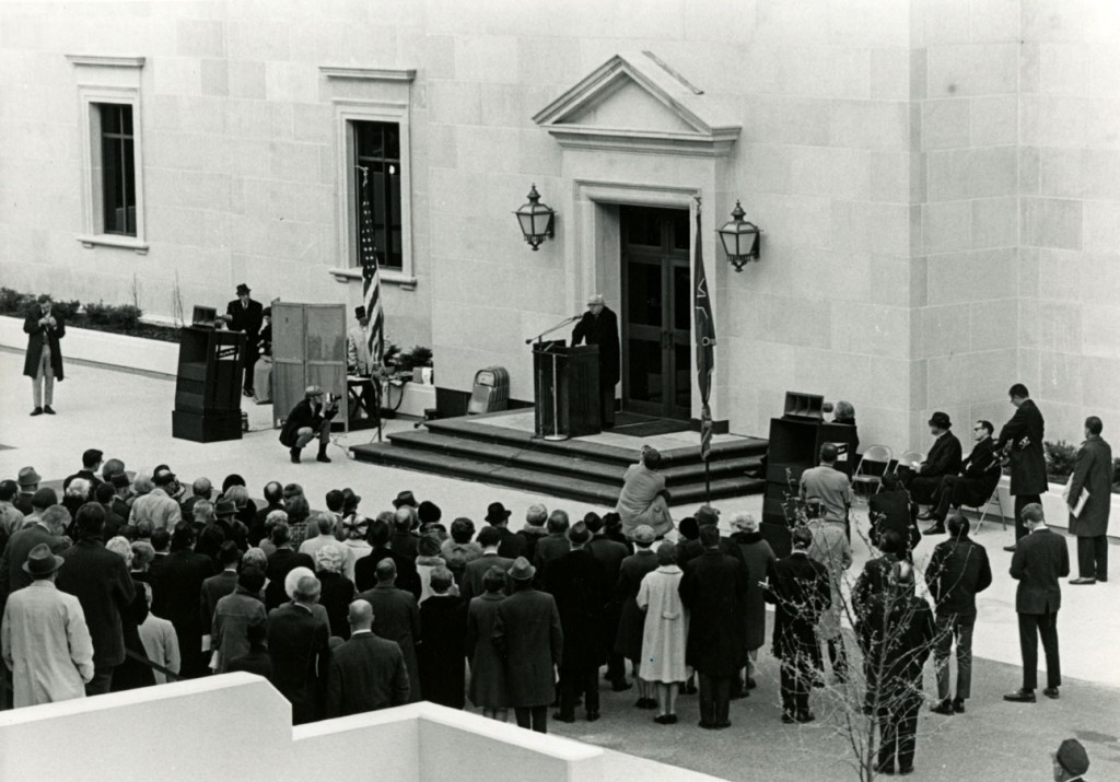 Photograph of Spencer Research Library dedication, November 8, 1968