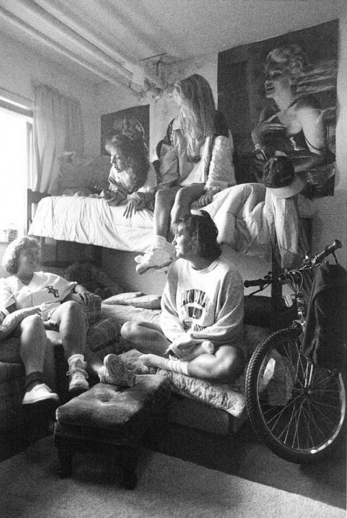 Photograph of students in their dorm room at McCollum Hall, 1993