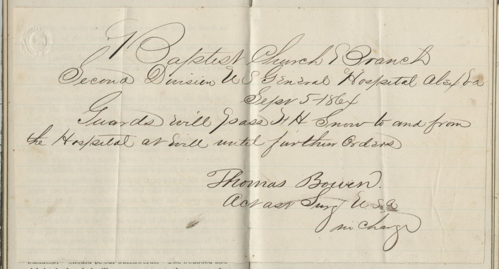 Image of a travel pass included in Francis Snow's journal, 1864