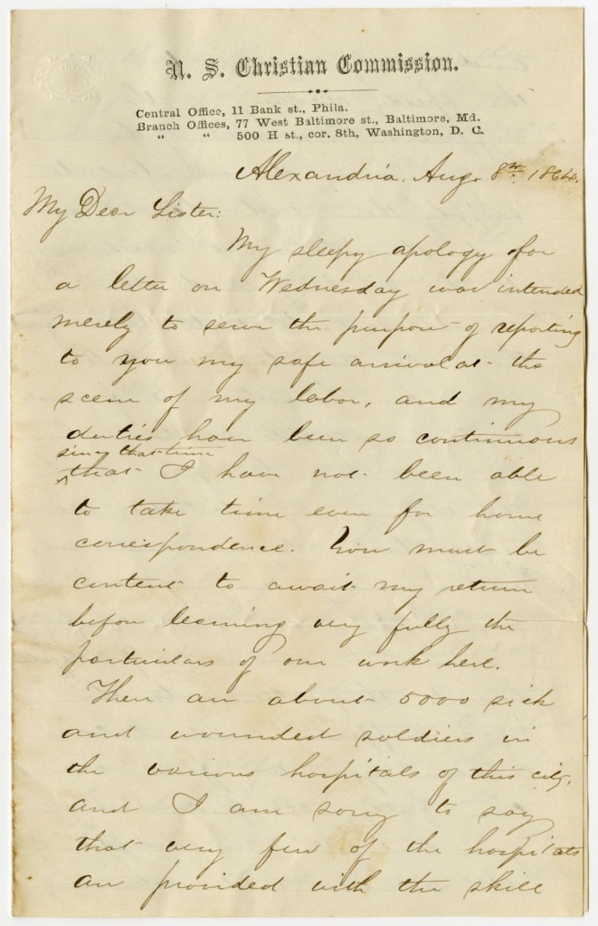 Image of the first page of Francis Snow's letter to his sister, 1864