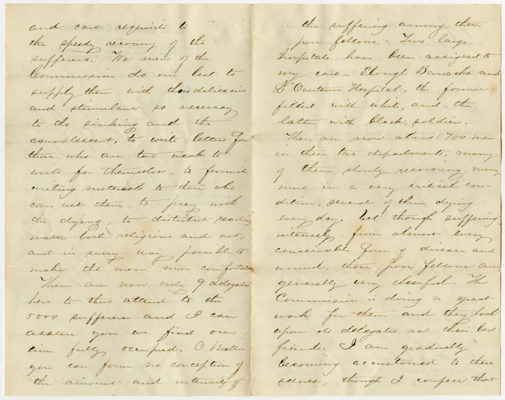 Image of the second page of Francis Snow's letter to his sister, 1864