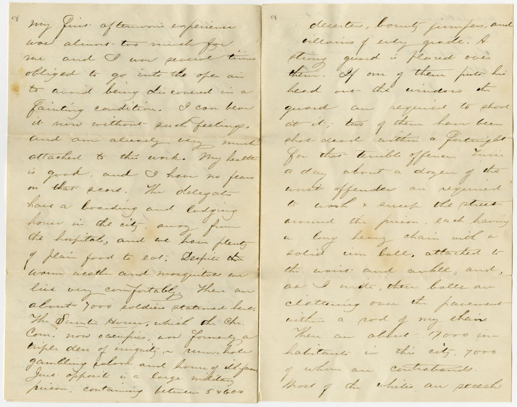 Image of the third page of Francis Snow's letter to his sister, 1864