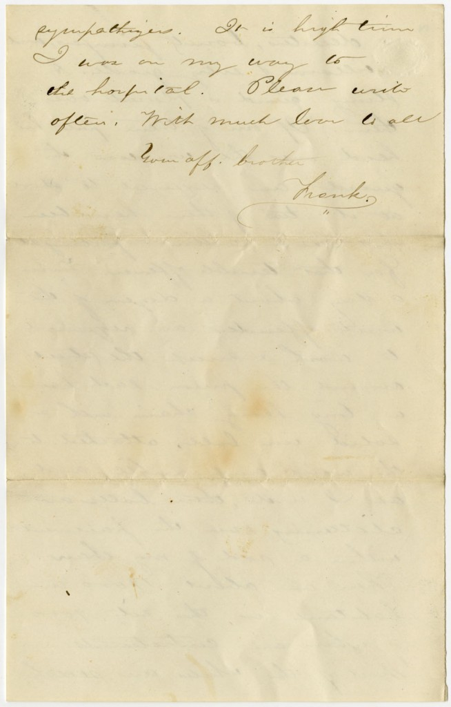 Image of the fourth page of Francis Snow's letter to his sister, 1864