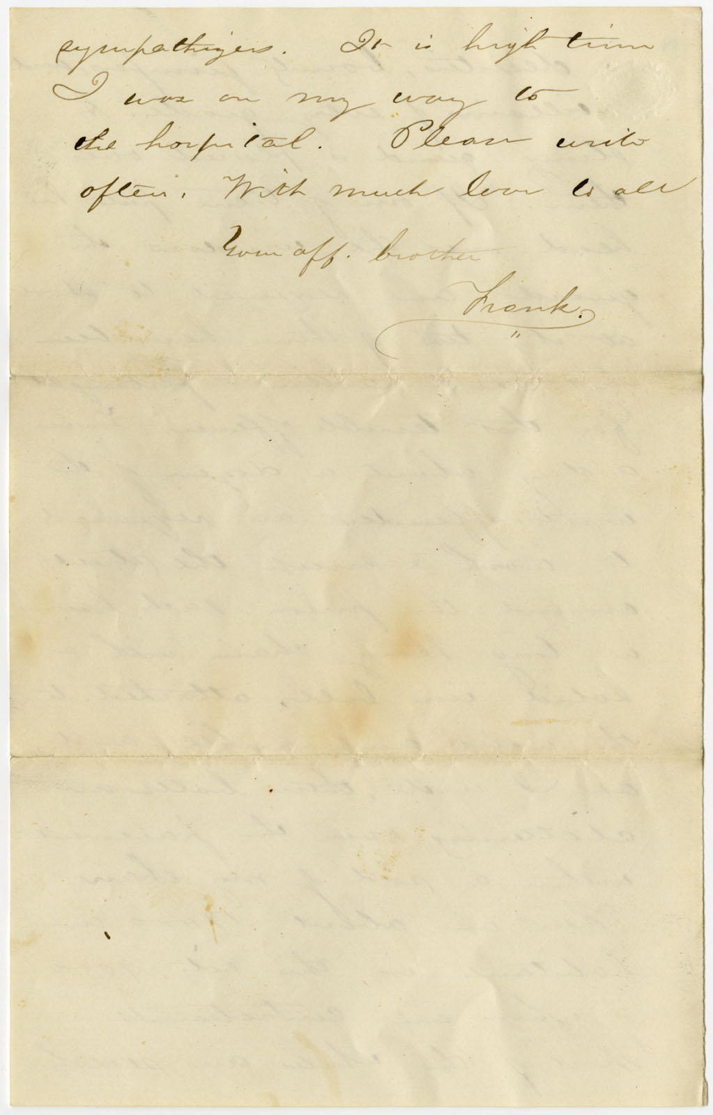 Kenneth spencer research library blog military image of the fourth page of francis snows letter to his sister 1864 madrichimfo Images
