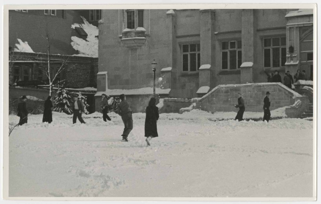 Photograph of students having a snowball fight, 1940s
