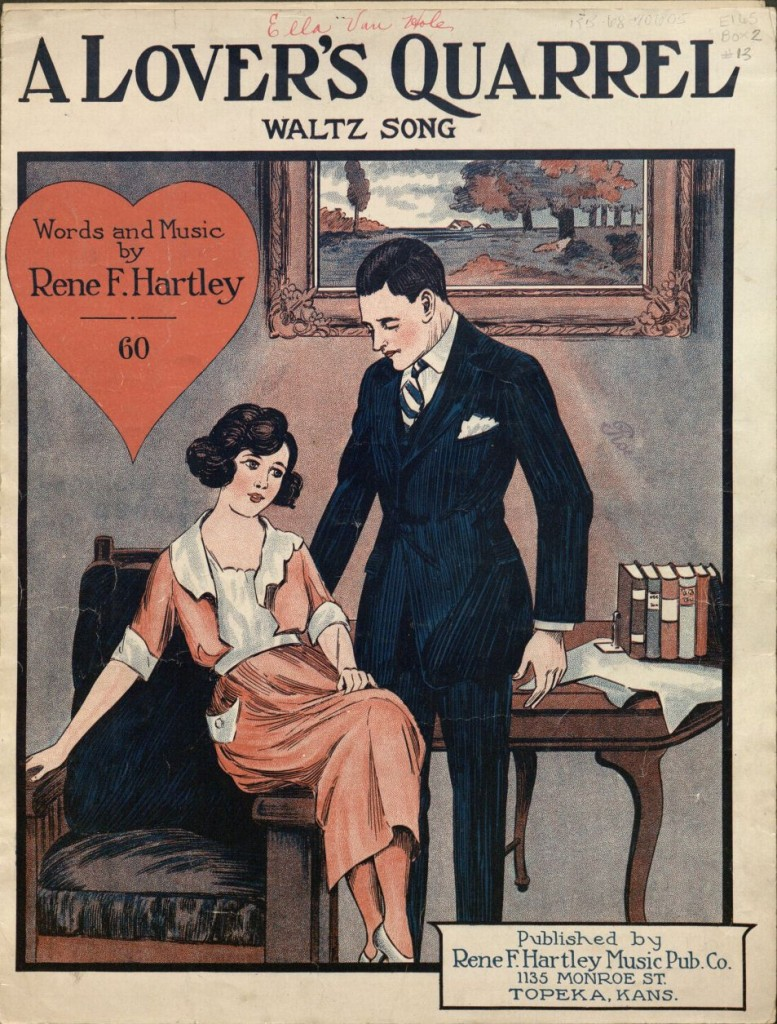 "Image of a sheet music cover, ""A Lover's Quarrel,"" 1922"