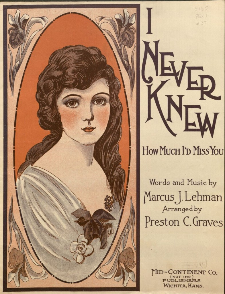 "Image of a sheet music cover, ""I Never Knew,"" 1920"
