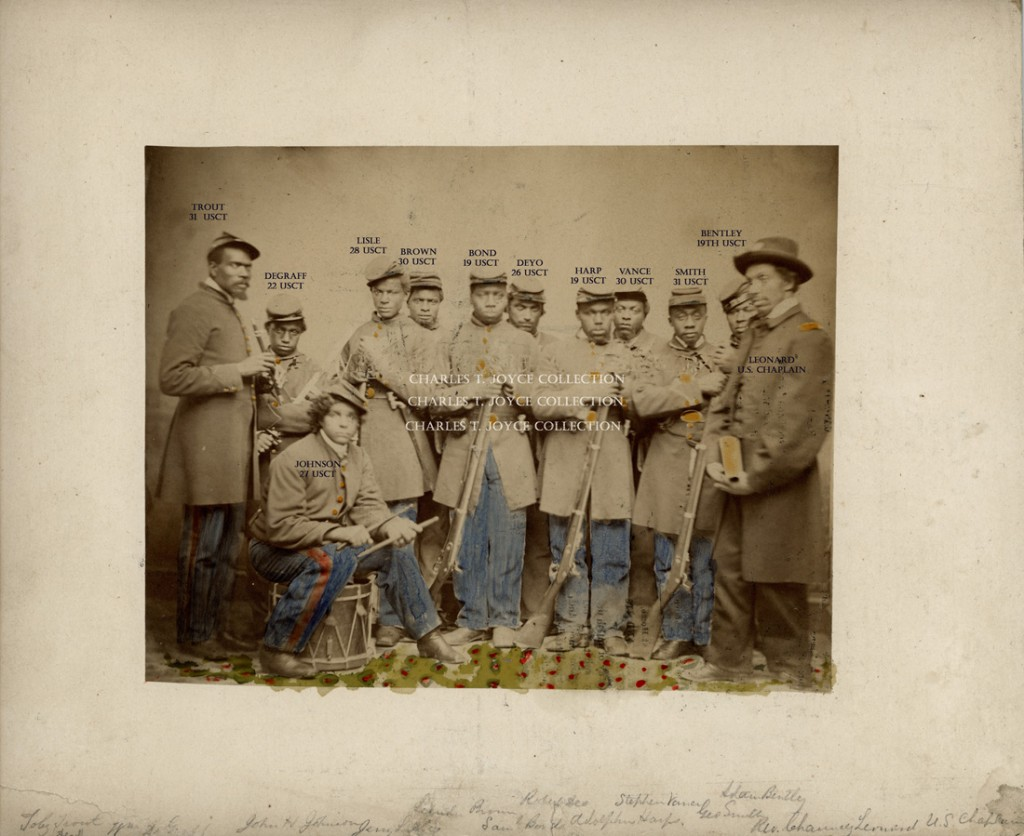 Photograph of African American soldiers from L'Ouverture Hospital, circa 1864