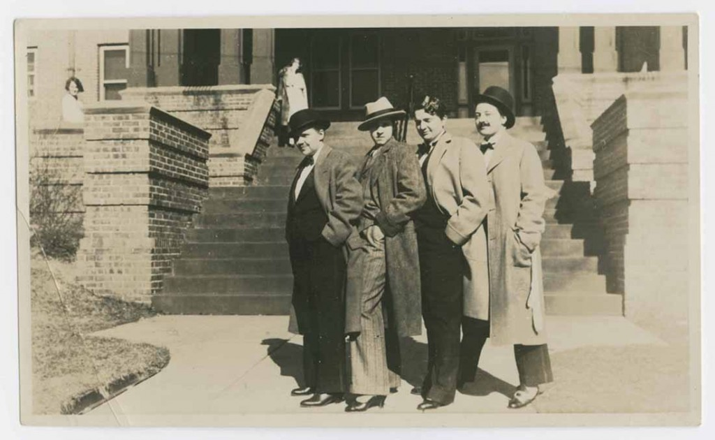 Photograph of 1926-27 girls dressed as men ready to go to the Puff-Pant-Prom