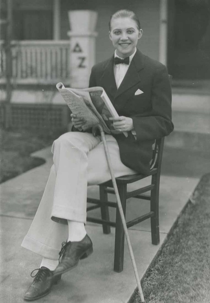 Photograph of Helen Walker as Rudolph Valentino, Puff Pant Prom, 1926